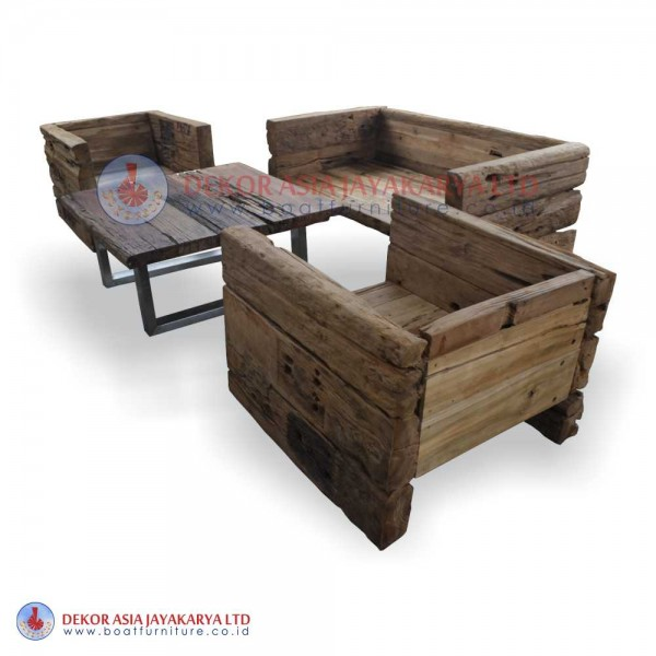 Recycled Railway Wood Sofa for living Room